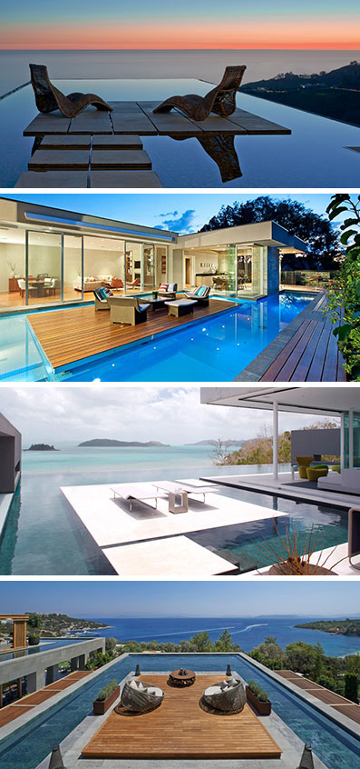 Island platforms in modern swimming pools takes party hosting to the next level. Here are 6 pools in both homes and hotels that have island platforms.