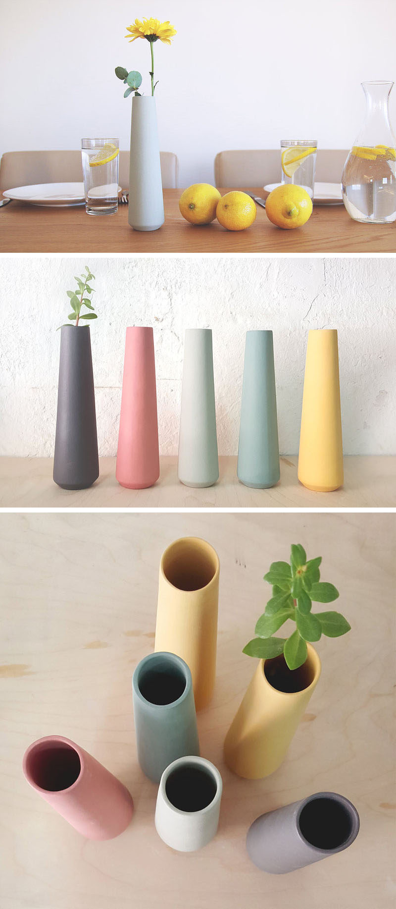 These tall, ceramic, single flower vases have a simple minimalist design, come in a range of pastel colors, and would suit any spring decor theme.