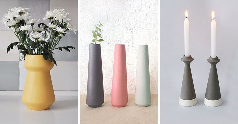 This collection of minimalist ceramic vases and candle holders come in a variety of soft pastel colors and shapes that would suit any spring decor theme.