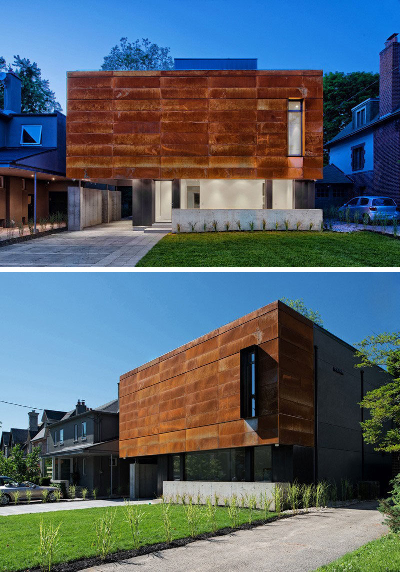 Weathering steel panels on this Canadian house give it a unique finish and adds texture to the exterior of the house.