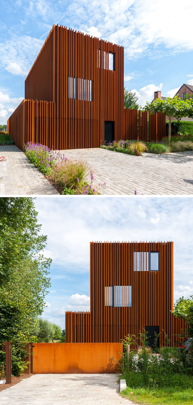 Strips of weathering steel placed on the exterior of this modern house provide privacy and add texture to a simple form.