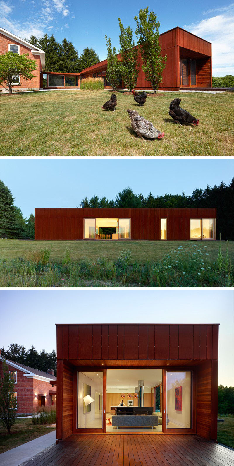 This single level weathering steel clad extension adds a modern structure to a traditional farmhouse and provides a contemporary place for the family to spend time in.