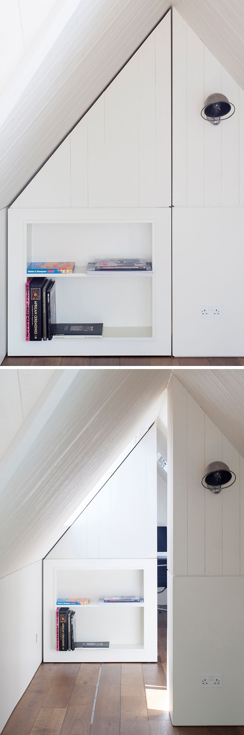 In this modern loft conversion, a wall of white paneling and shelving can be pushed back into a hidden room then slides closed again to make the space even more unique.