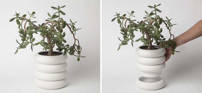 Chen Chen and Kai Williams have created a line of modern, white stacked porcelain planters that are inspired by the ceramic insulators that cover high-voltage power lines. The Power Planters have a pot and the drainage saucer that are both the same size, creating the look of stacked rings.