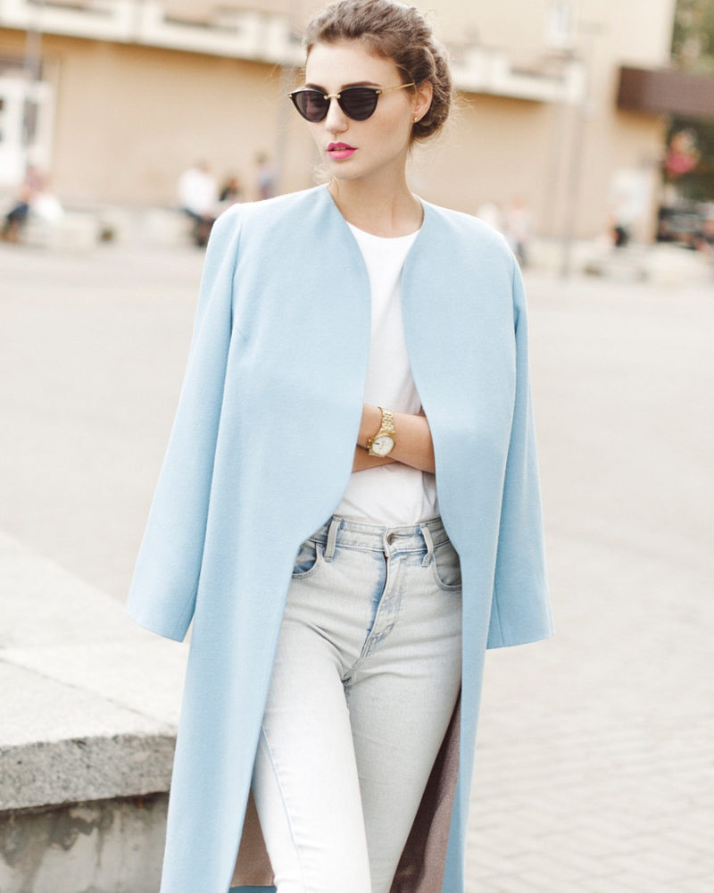 This Light Blue Minimalist Spring Coat Adds A Soft Touch