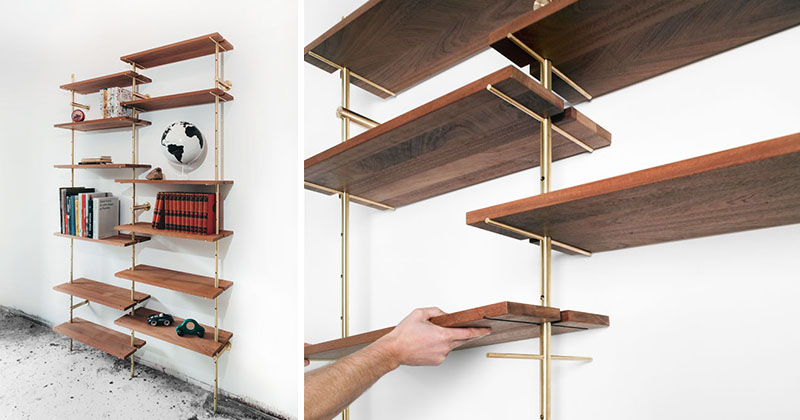 this brass rail shelving has mid century modern style. Black Bedroom Furniture Sets. Home Design Ideas