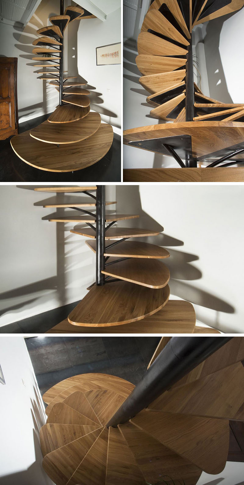 The steps of this wood and metal modern spiral staircase start out large and act like a small landing but get slightly smaller as you climb them.