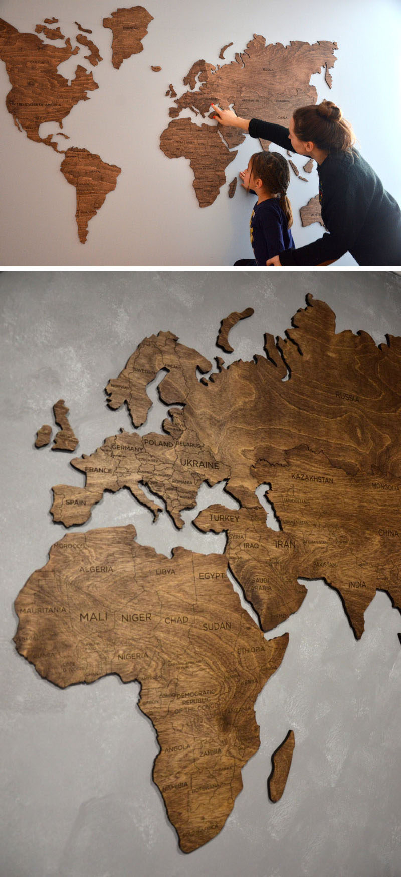 10 world map designs to decorate a plain wall contemporist this wood world map is slightly raised off the wall to add dimension to your room and help warm up your space gumiabroncs Images