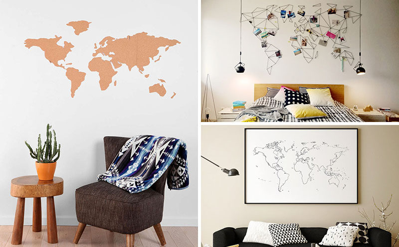10 world map designs to decorate a plain wall contemporist whether you use it to teach your kids about world track your travels or gumiabroncs Gallery