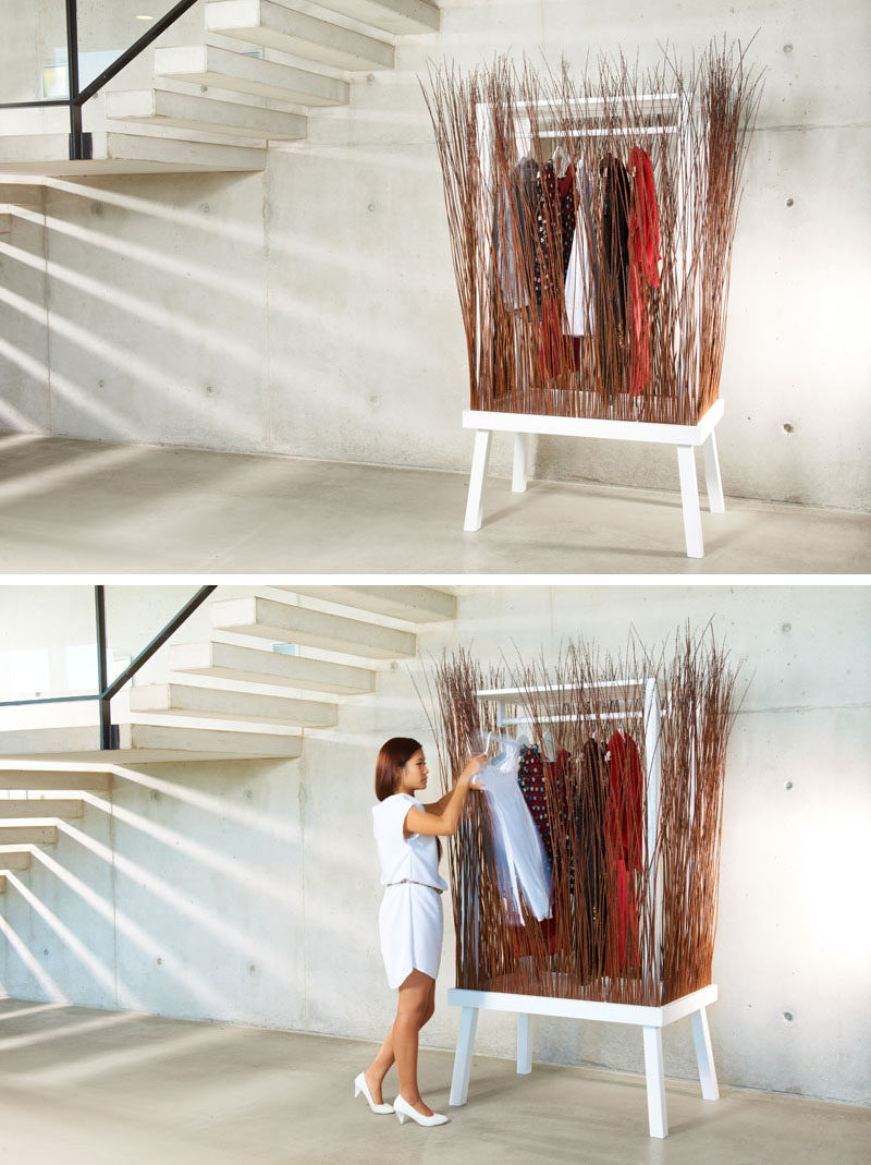 Stand Alone Wardrobe Designs : This wardrobe uses willow branches to hide the clothes inside