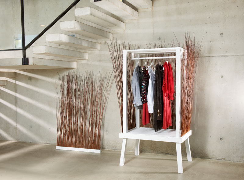 paul ketz has created a fun and unexpected design for a standalone closet wardrobe