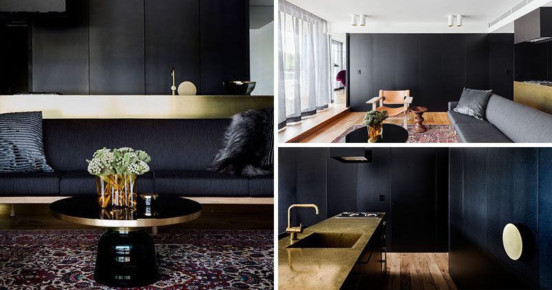 Architect Prineas have designed the interior for this sophisticated modern apartment in Sydney, Australia, that features plenty of black and gold accents.