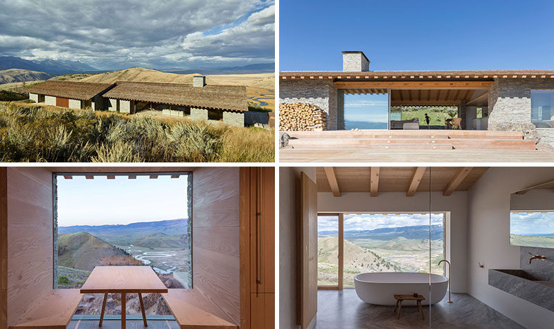 The design of this modern house uses materials like stone, wood, plaster and glass, and is inspired by both European chalets and American cabins.