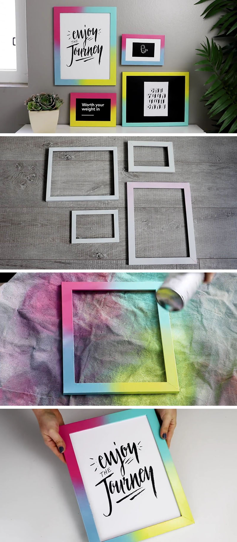 Create your own easy DIY colorful gallery wall by spray painting simple white frames with bright colorful gradients, and pair them with simple black and white artwork to keep it all looking contemporary.