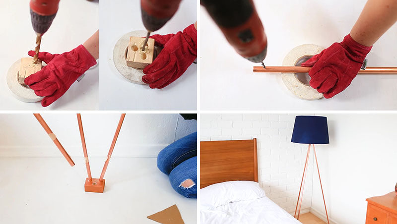 Add a modern touch to your home decor with this DIY Copper Tripod Lamp, that uses copper pipes, a lamp kit, a small block of wood, and a drill.