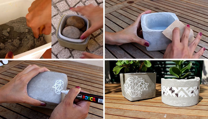 Create your own inexpensive DIY table top concrete planters that are decorated with geometric patterns and are the perfect size for succulents.