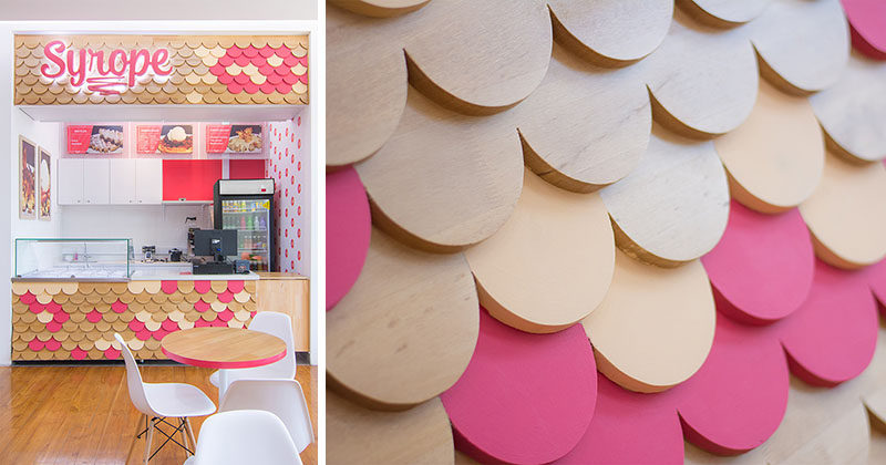 This Waffle Store Is Covered In A Pink And Wood Scalloped Pattern