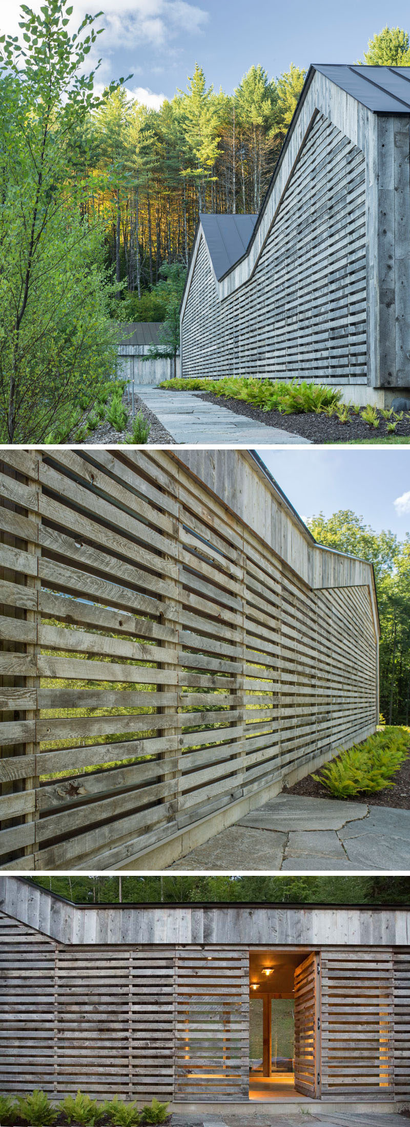 This modern house is clad in a siding composed of re-purposed snow fencing, so that it already has the natural beauty of the weathered boards. The front entrance is hidden away within the siding, making it almost invisible when walking past, with only a small stone path telling you where it is.