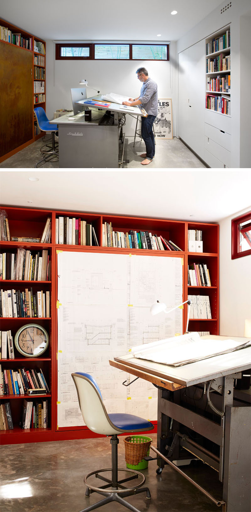 This home office has a wall of cabinets, and a small row of windows allows natural light to enter the room without the view through the windows creating a distraction.