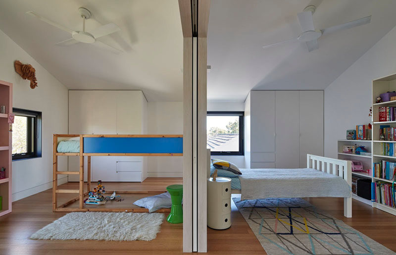 These kid's bedrooms can be opened up to each other, the hallways, the study and the living area, making it easy to change the function of these rooms as the children grow.