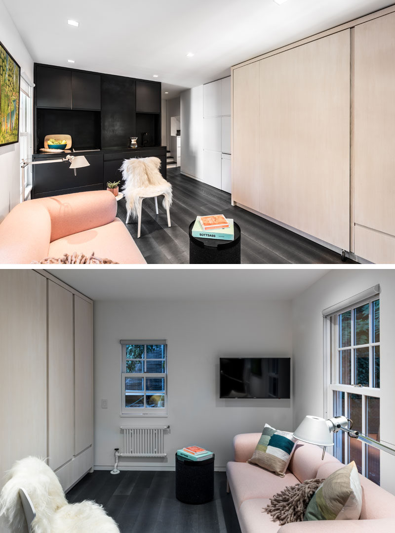 Architecture firm MCKA have recently completed the design of this micro 225 sq ft (20 sqm) apartment in New York, that features a wall full of multi-functional cabinetry.