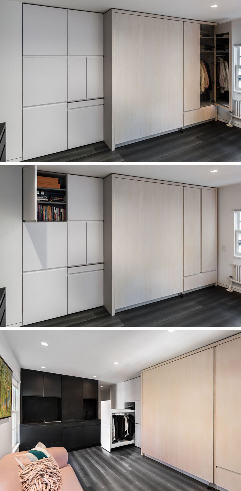 This micro apartment has a wall of cabinets with multiple closet and storage spaces. One closet has a mirrored door, there's a small area for storing books and other personal items, and below that is a second closet with a bar for hanging coats, shirts and pants.