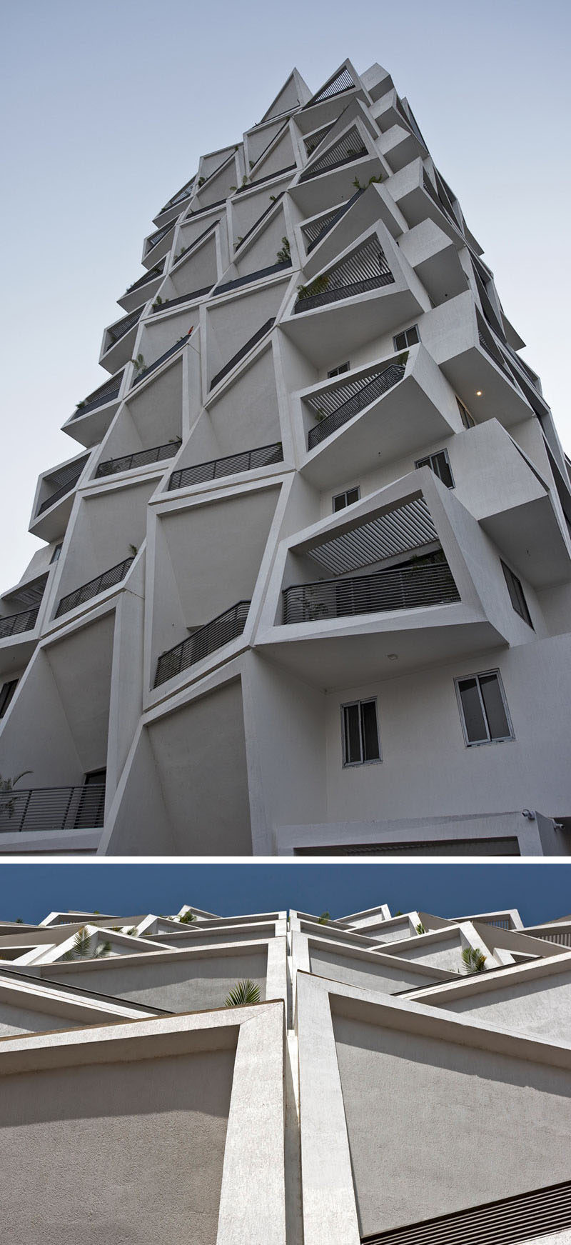 Sanjay Puri Architects have designed Ishatvam 9, a 15 storey residential building in Ranchi, India, that features uniquely shaped private outdoor spaces for each apartment.