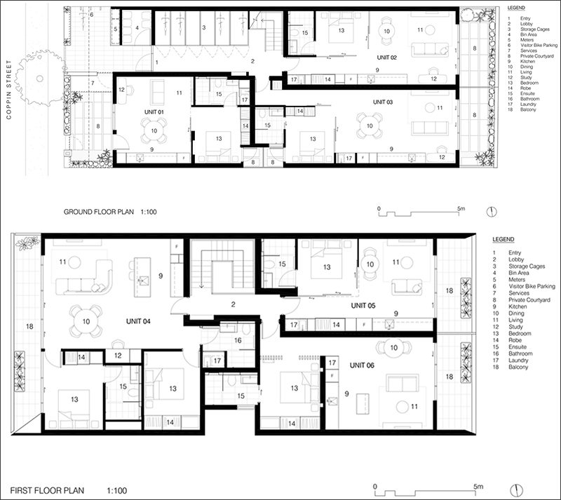 This is the floor plan for a modern apartment building that is home to six apartments.