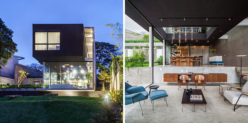 FGMF Arquitetos have designed this modern house in São Paulo, Brazil, for a young family, that sits on a steep slope and has views of the city.