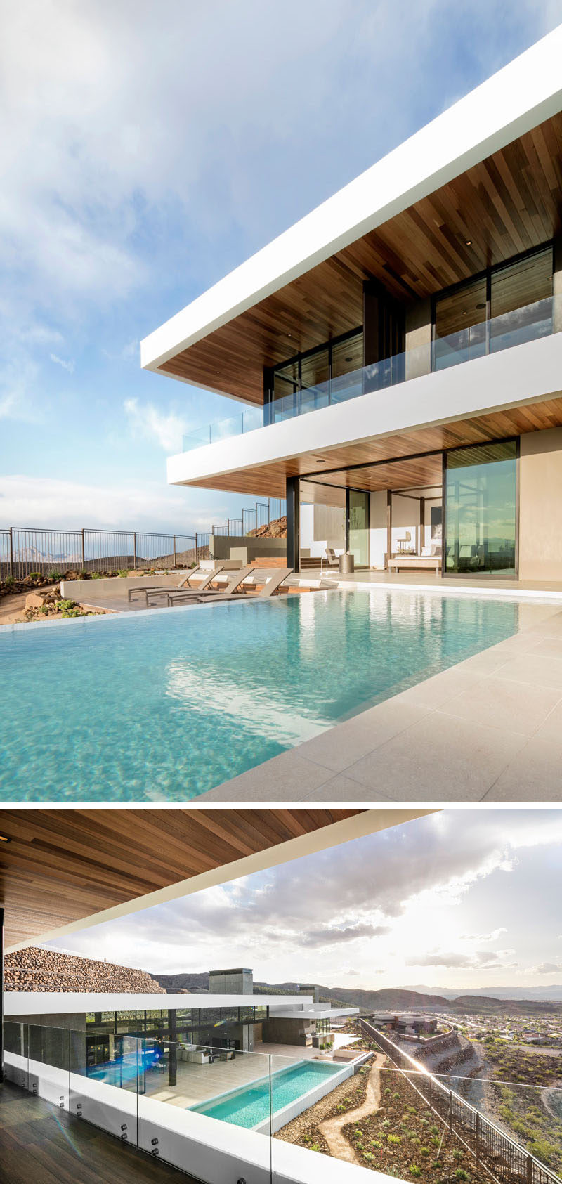 The backyard / pool area of this modern house has multiple spaces for lounging in the sun and enjoying the view.