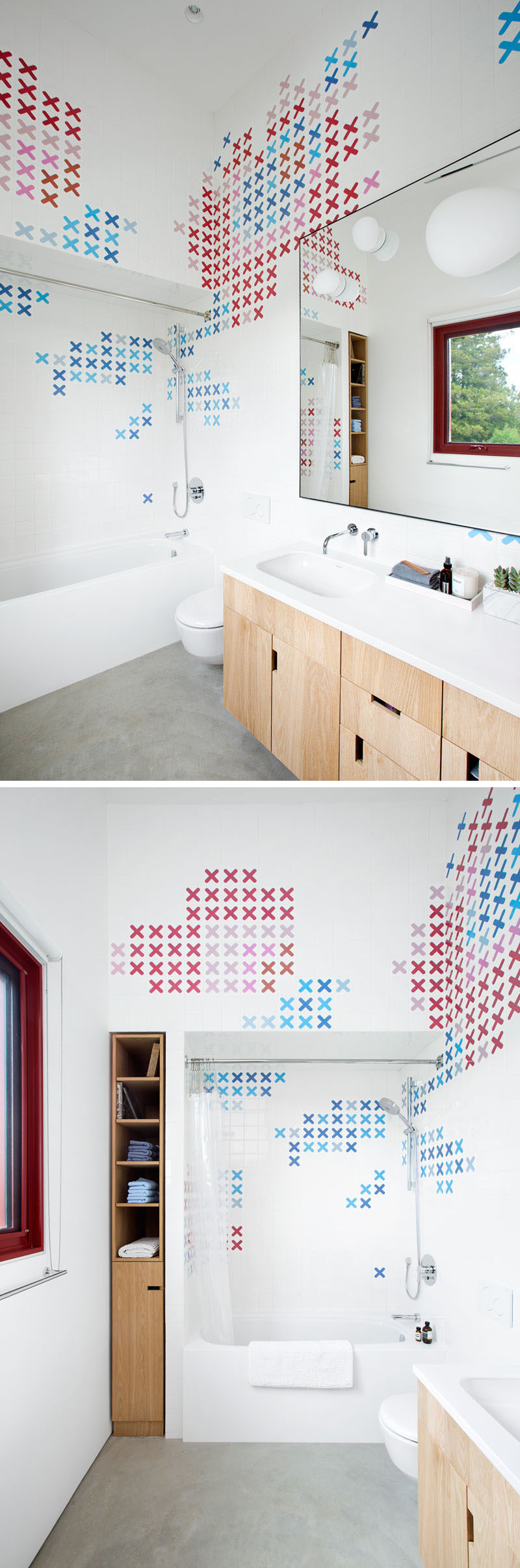 This modern bathroom is filled with colorful 'X' tiles that almost look like a cross-stitch embroidery pattern.