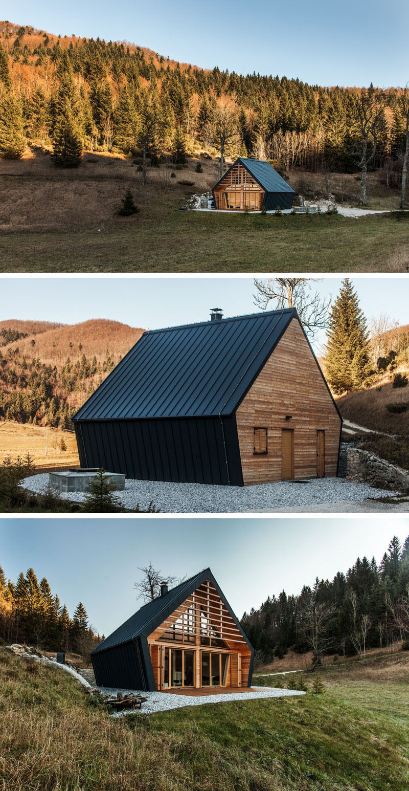 Studio pikaplus have designed this small two bedroom house surrounded by a forest in slovenia that has an exterior of black metal siding and a softer light