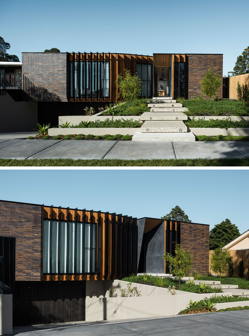 FIGR. Architecture & Design have designed this dark brick home in Australia, that wraps around a central courtyard.