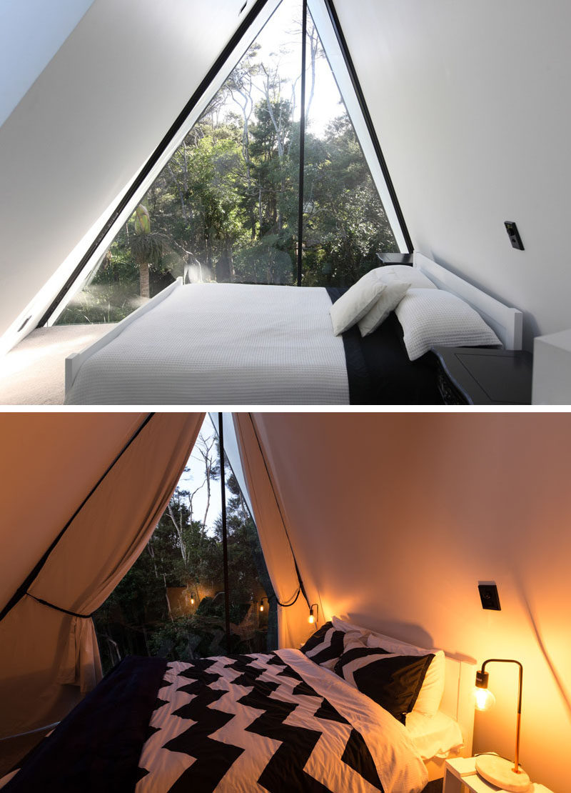 The bedroom in this modern cabin has a view of the treetops and also has & A Tent Inspired House That Lives Among The Trees In New Zealand ...