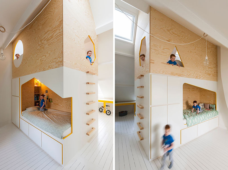 This Kids Room Has A Custom Designed Double Bed And Lofted