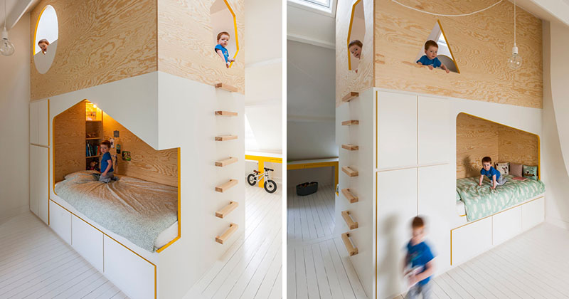 This Kids Room Has A Custom Designed Double Bed And Lofted Play Space