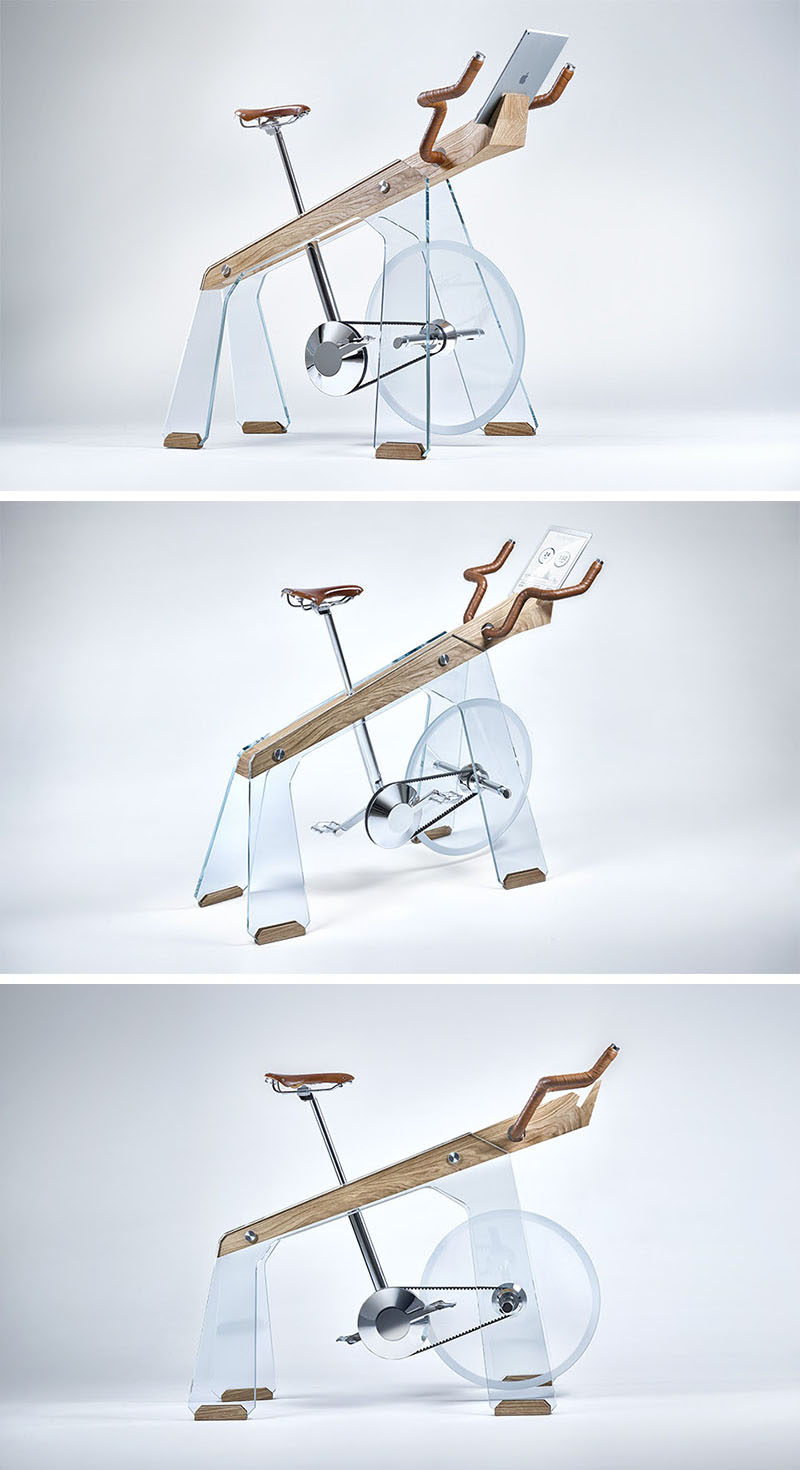 'Freeride' by Adriano Design, is a modern exercise bike that's been designed as an object to desire and show off, but at the same time, is practical and can be ridden. Built from glass, wood and steel, the exercise bike also has a tablet holder, so that the rider can watch bike routes from around the world while they work out.