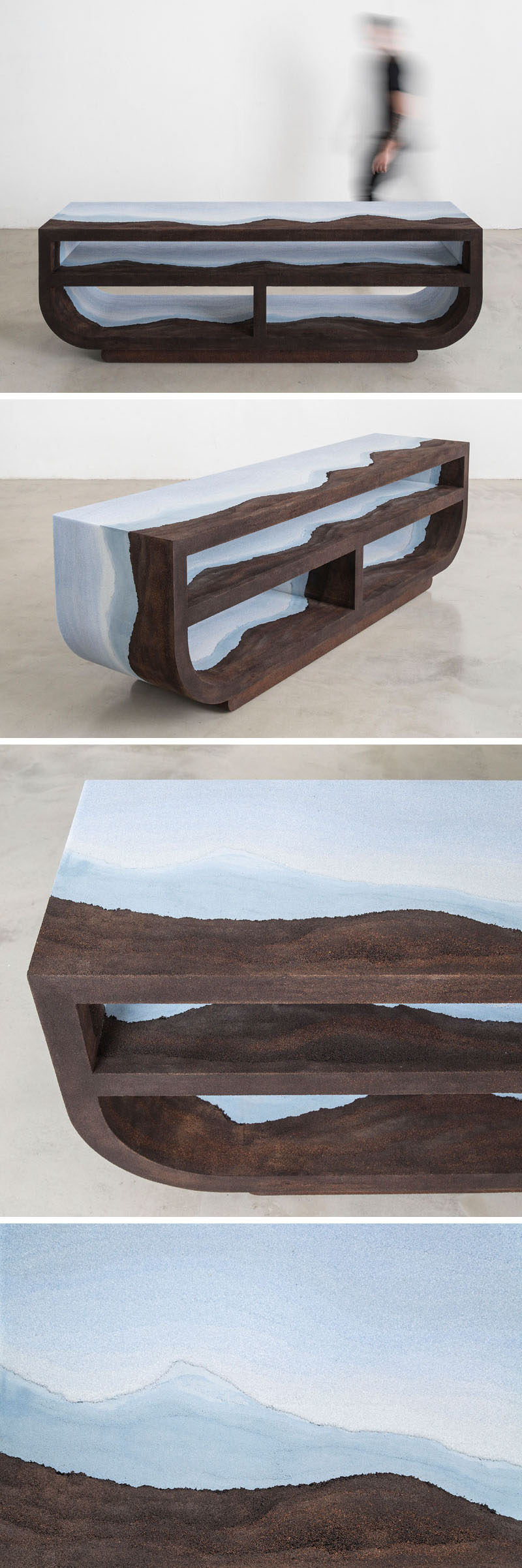 Designer Fernando Mastrangelo has created the Escape Collection, a group of modern furniture pieces, like this credenza, that are made using hand-dyed sand and silica to create simple forms that look like a three-dimensional landscape painting.