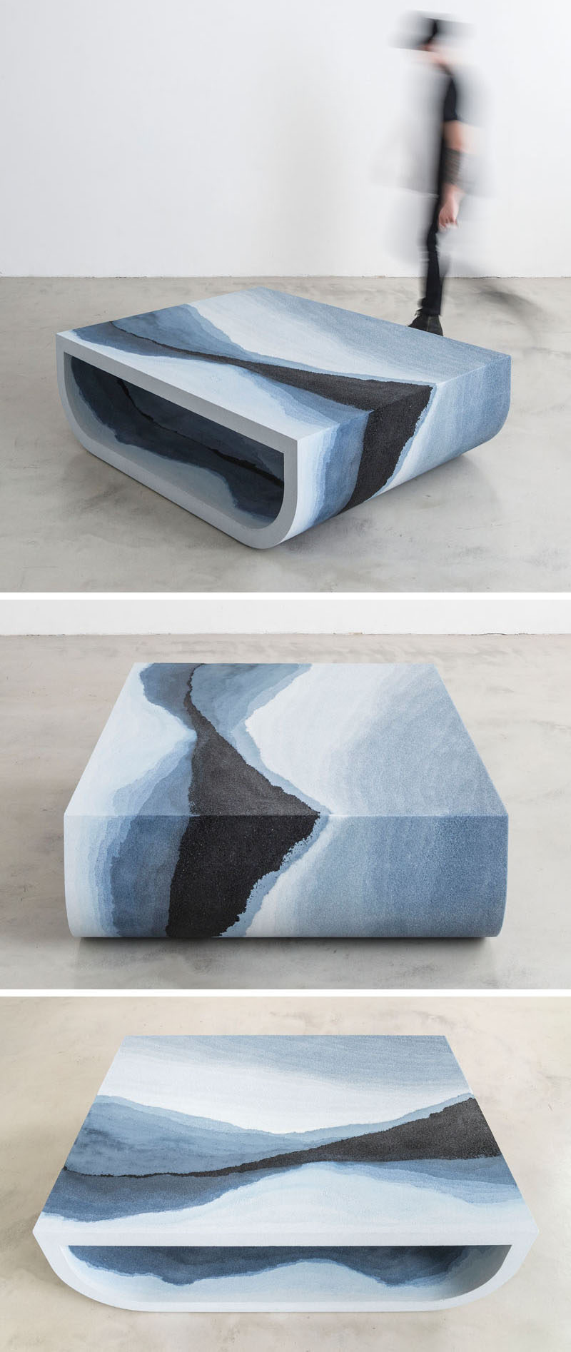 Designer Fernando Mastrangelo has created the Escape Collection, a group of modern furniture pieces, like this coffee table, that are made using hand-dyed sand and silica to create simple forms that look like a three-dimensional landscape painting.