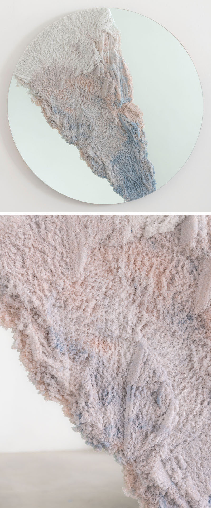 Designer Fernando Mastrangelo has created the Escape Collection, a group of modern furniture pieces, like this mirror, that are made using hand-dyed sand and silica to create simple forms that look like a three-dimensional landscape painting.
