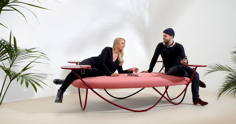 Swedish design group Front, have recently completed Dune, an informal and relaxed seating option for offices and public spaces, that includes USB charging ports under the small tables.