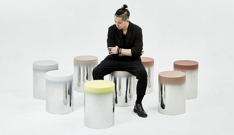 24 Of These Mirrored Stools With Painted Seats Have Been Placed In An Art Park In Korea