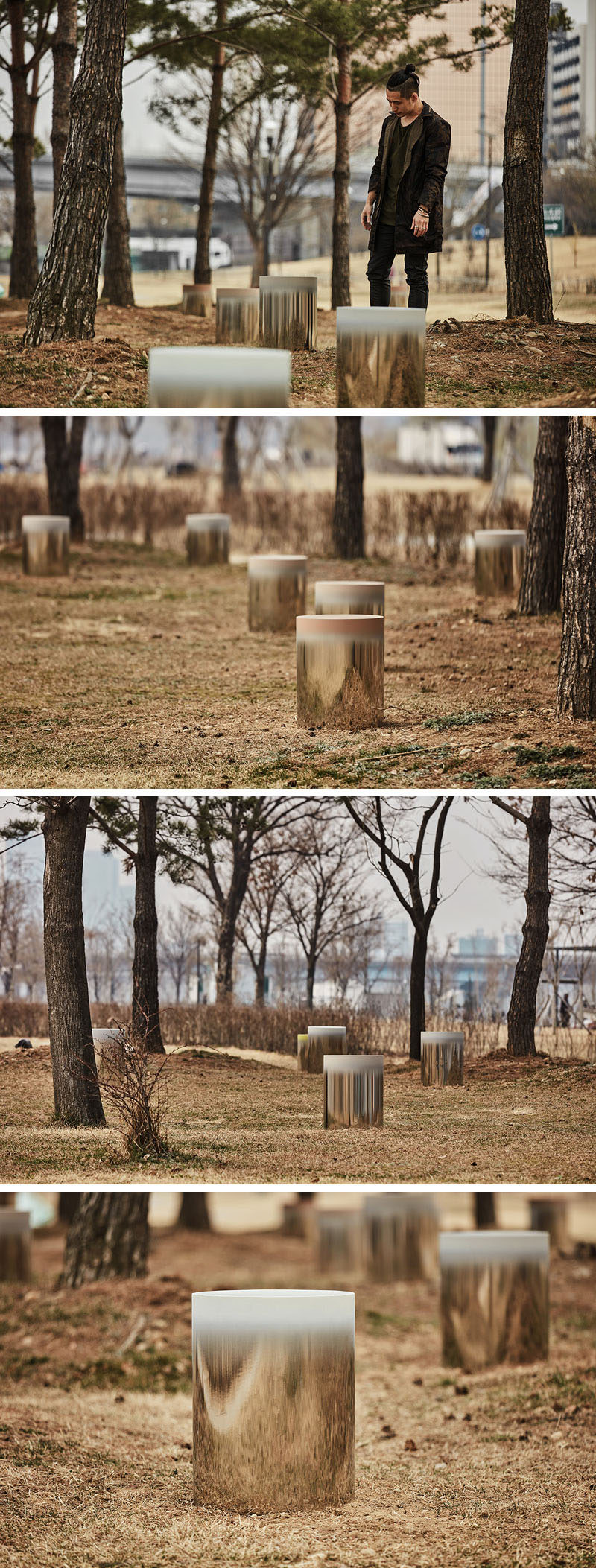 South Korean designer Jiyoun Kim has created the Dokkaebi Stools, a collection of 24 mirrored stainless steel stools with each a painted seat, that will grace the Hangang Art Park in Seoul.