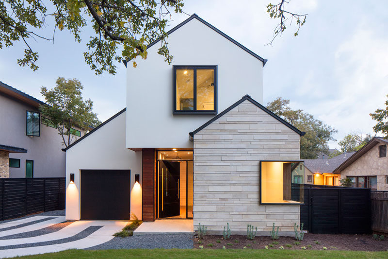 This modern house on a residential street in austin texas features an exterior of