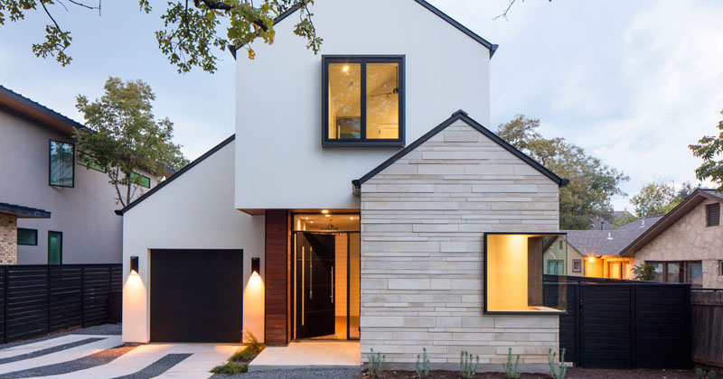 A Contemporary House With Peaked Roofs Arrives On This Street In Austin, Texas