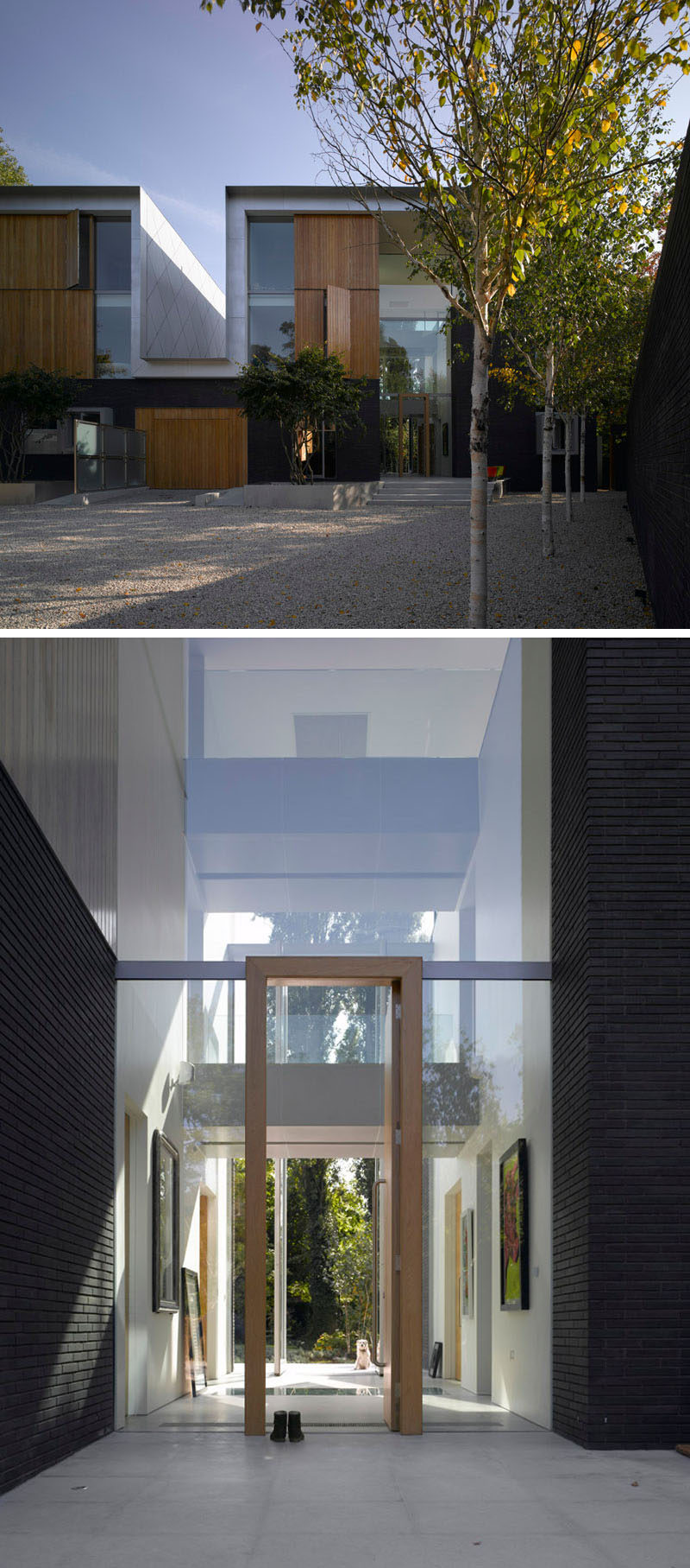 A pair of houses with tall atriums sit on this london site for Modern house website