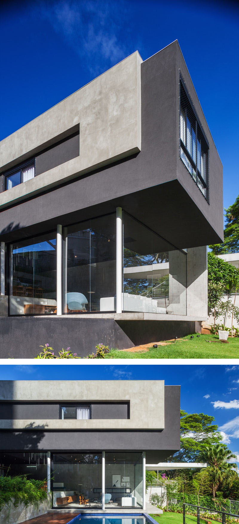 Large glass windows break up the concrete exterior of this modern house and help to support a cantilevered section of the the upper floor of the home.