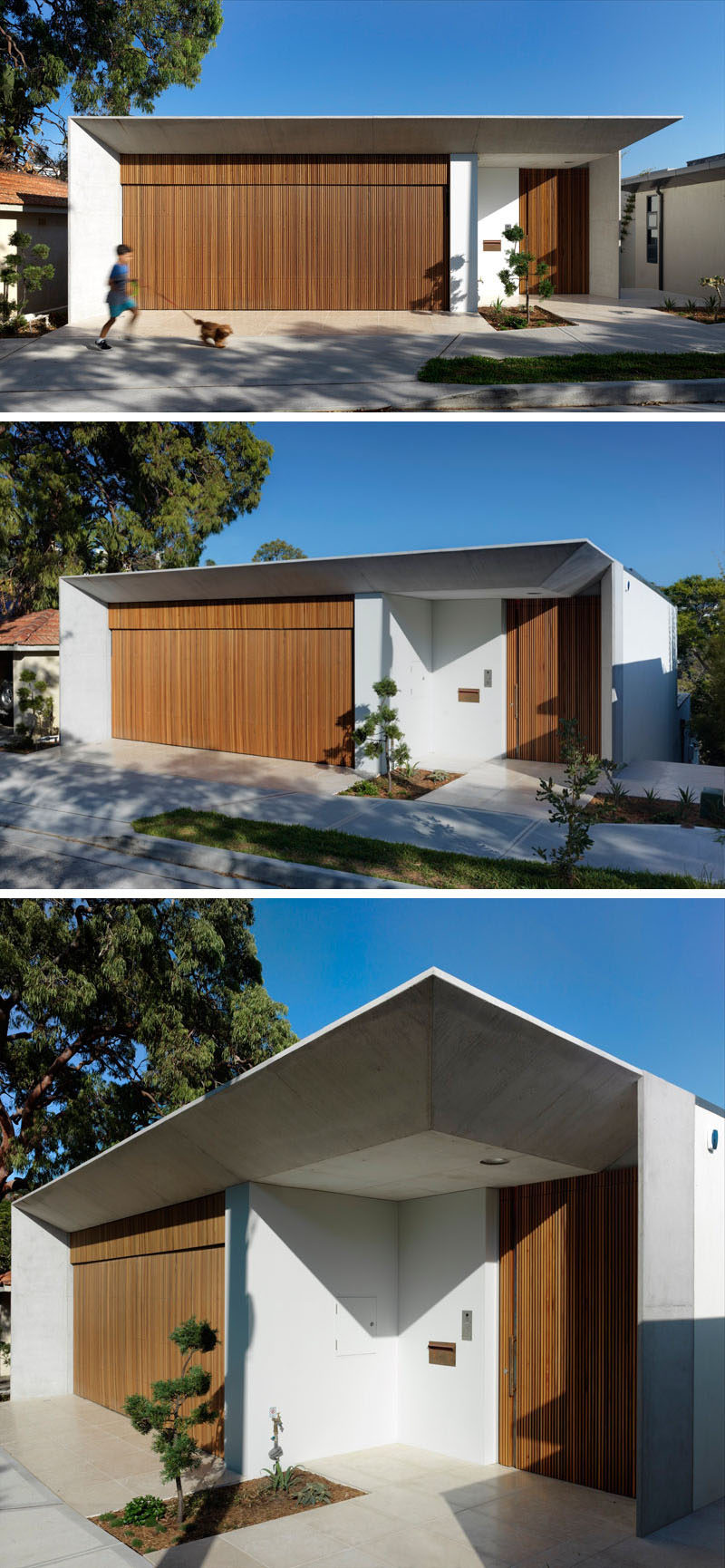 From the street, this modern house has a wood garage that matches the front door. The front door has been slightly set back to provide some protection from the elements.