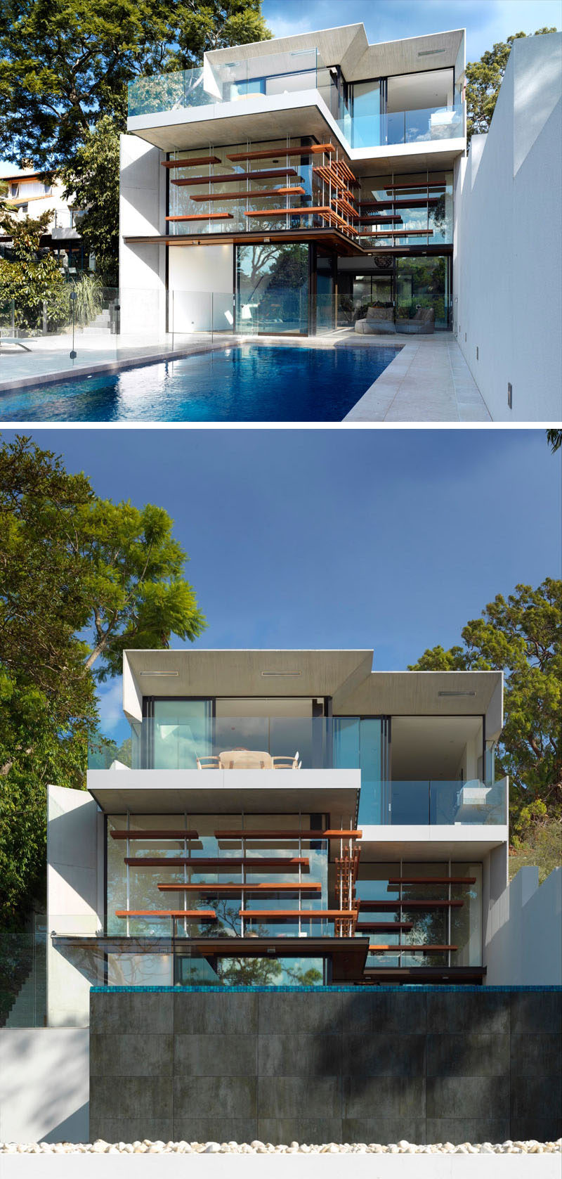 The outdoor area of this multi-level modern house, opens up to a waterfall edge pool with a glass safety fence that surrounds it.