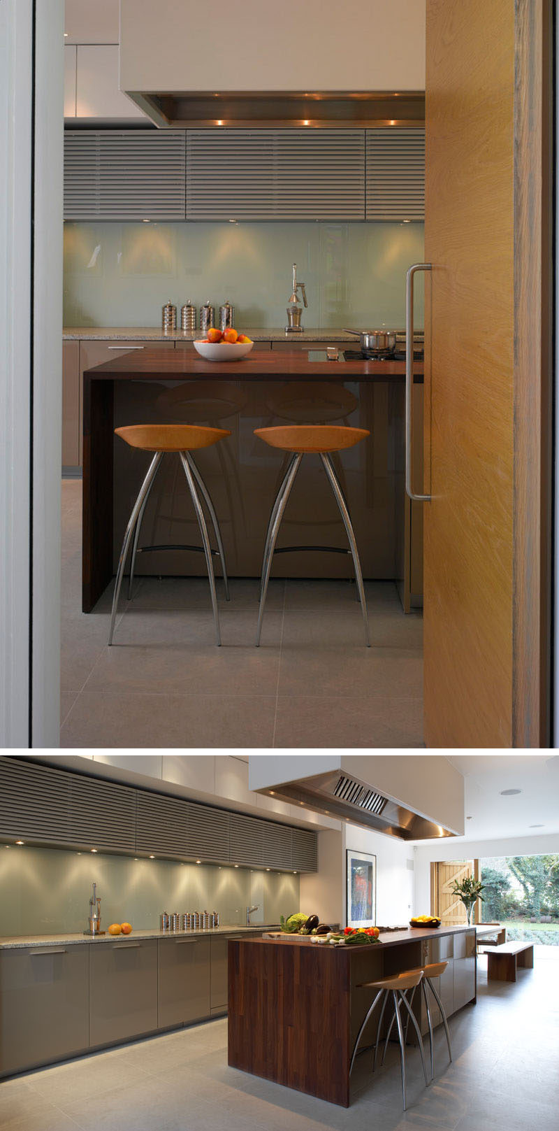 A large wood covered island is central to this modern kitchen, and provides a place for casual seating and additional storage.